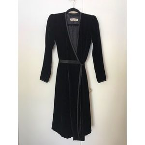 1970's Yves Saint Laurent velvet wrap dress